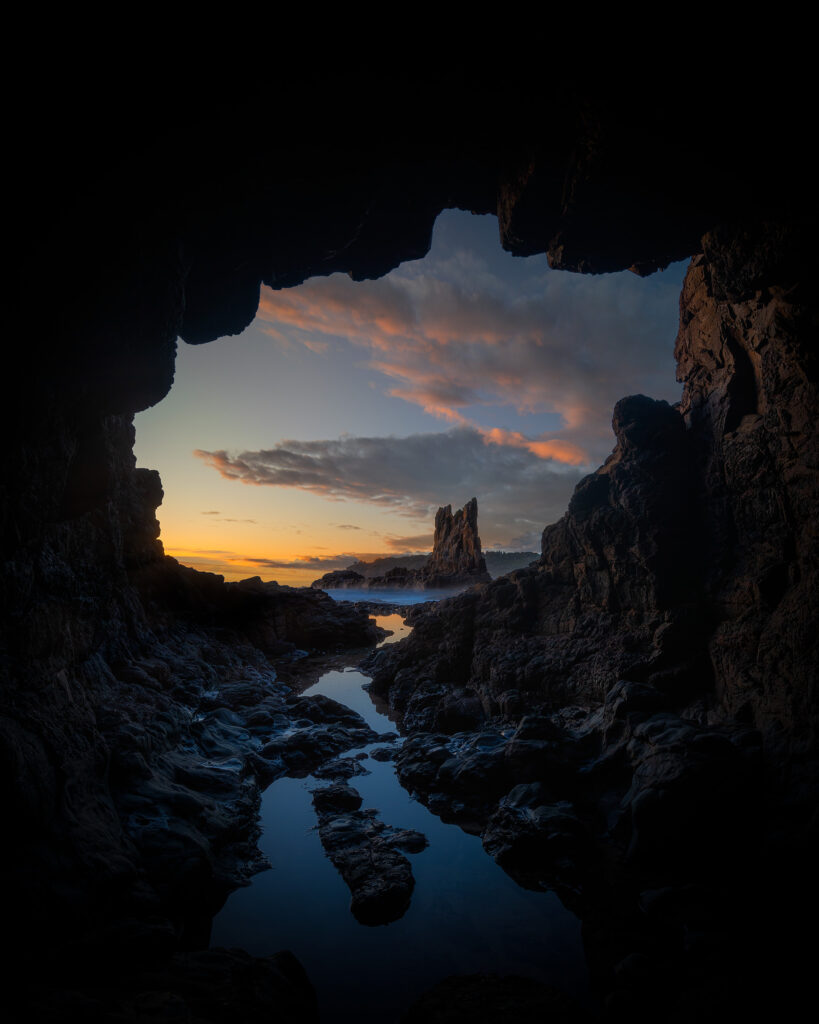 Cathedral Rocks from cave at sunrise
