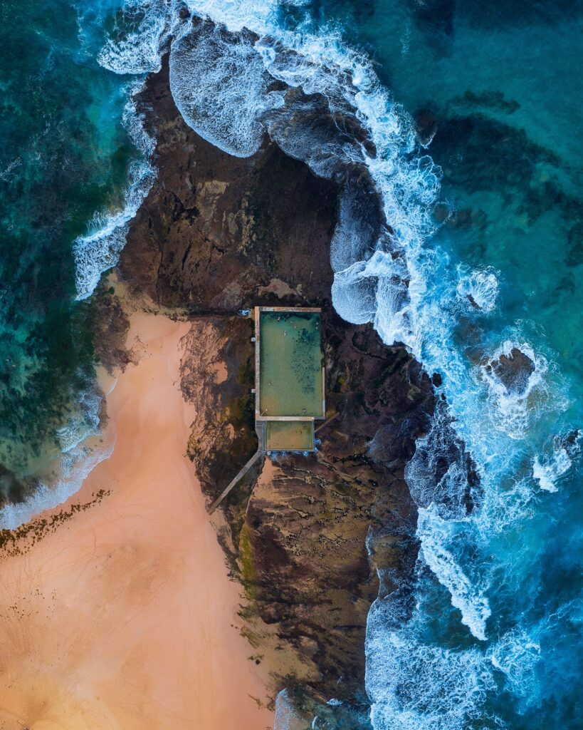 Mona Vale Beach Rock Pools from above